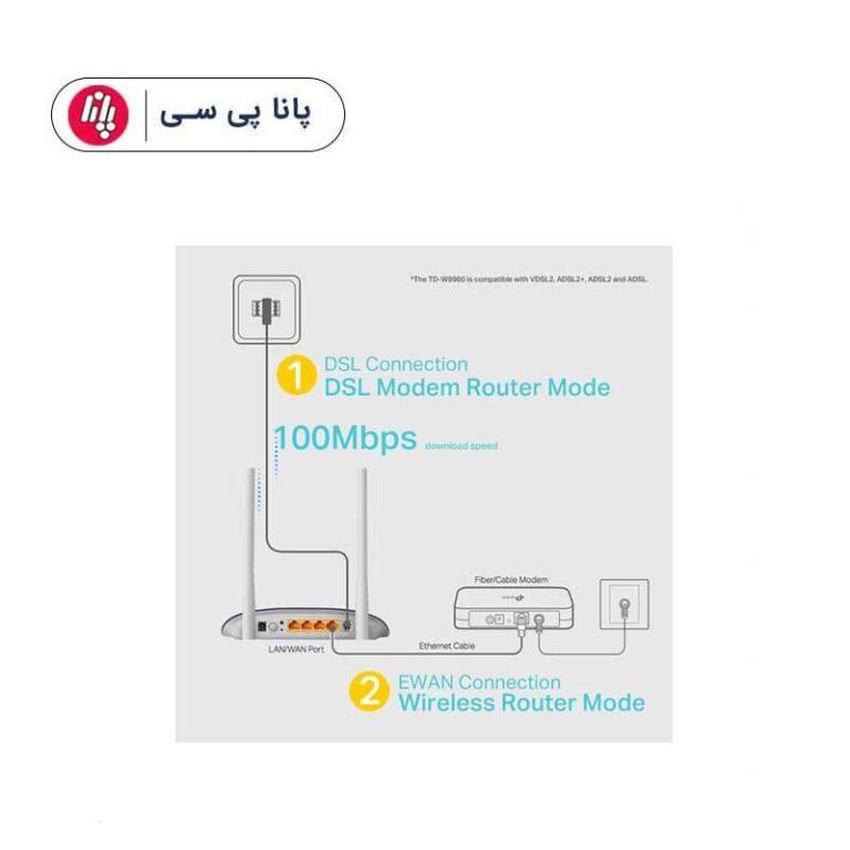 مودم روتر VDSL/ADSL وایرلس N300 تی پی لینک ورژن 1.2 مدل TD-W9960